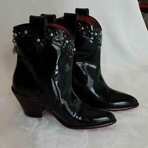 Women's Coach black patent ankle boots
